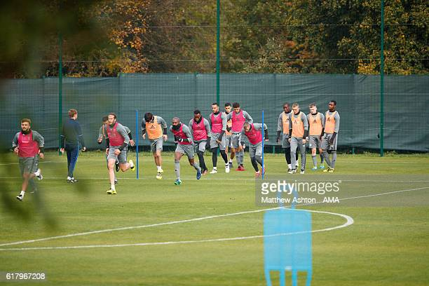 The players of West Bromwich Albion during a West Bromwich Albion Training Session on October 25 2016 in West Bromwich England