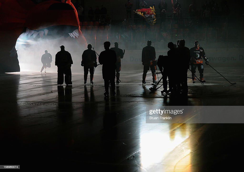 The players of Wolfsburg prepare before the start of the DEL match between Grizzly Adams Wolfsburg and Kolner Haie at the Volksbank BraWo Eisarena on January 4, 2013 in Wolfsburg, Germany