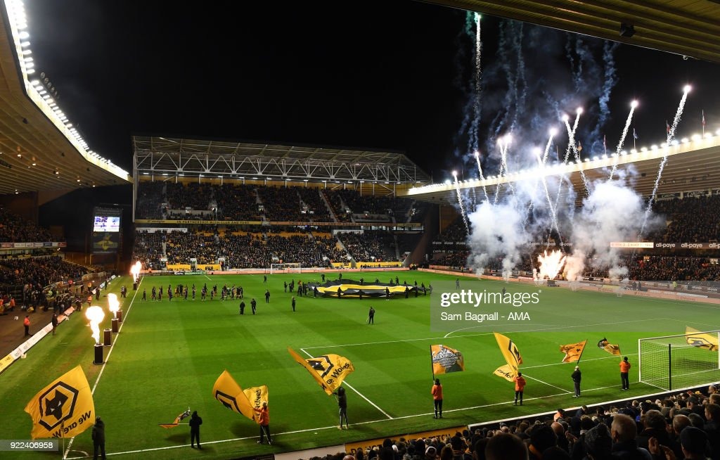 The players of Wolverhampton Wanderers and Norwich City walk onto the pitch during the Sky Bet Championship match between Wolverhampton Wanderers and Norwich City at Molineux on February 20, 2018 in Wolverhampton, England.
