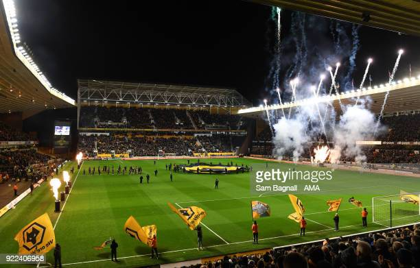The players of Wolverhampton Wanderers and Norwich City walk onto the pitch during the Sky Bet Championship match between Wolverhampton Wanderers and...