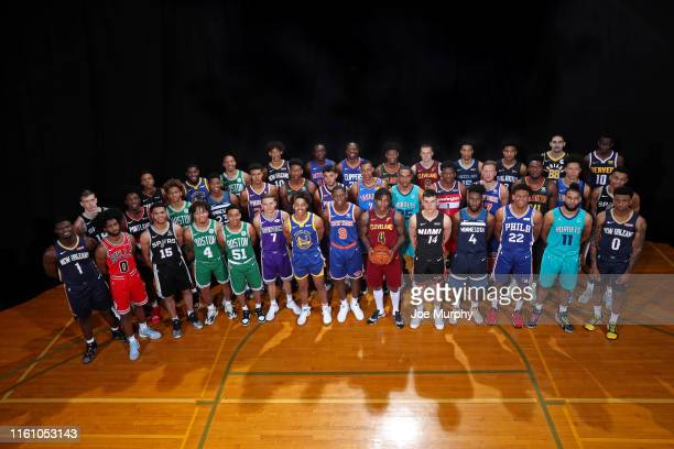 The players pose for a group photo during the 2019 NBA Rookie Photo Shoot on August 11, 2019 at Fairleigh Dickinson University in Madison, New...