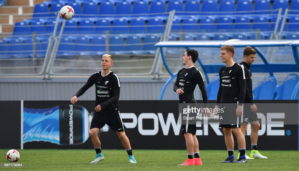 The players practice during a training session of the New Zealand national football team at Petrovsky Stadium on June 18, 2017 in Saint Petersburg, Russia.