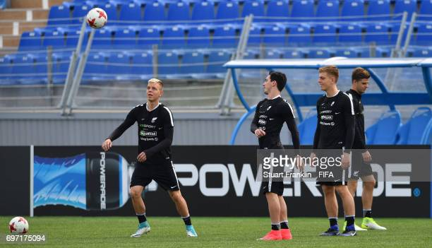 The players practice during a training session of the New Zealand national football team at Petrovsky Stadium on June 18 2017 in Saint Petersburg...