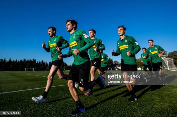 The Players run during a training session at Borussia Moenchengladbach Training Camp on January 05 2019 in Jerez Spain