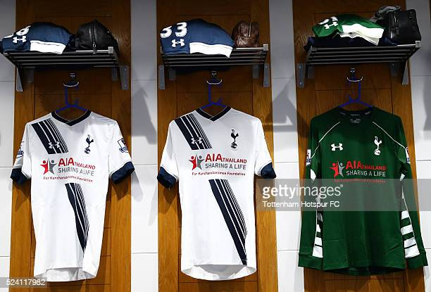 The players shirts are hung in the dressing room prior to the Barclays Premier League match between Tottenham Hotspur and West Bromwich Albion at...