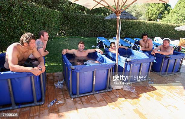 The players take an ice bath following a gruelling England training session held at Browns Sports Complex on July 3 2007 in Vilamoura Portugal