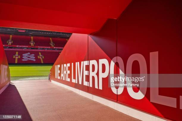 The players tunnel at Anfield Stadium, the home Liverpool Football Club during the coronavirus pandemic lockdown at Anfield on April 20, 2020 in...