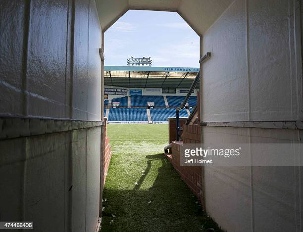 The players tunnel on to the pitch prior the Scottish premiership match between Kilmarnock and Ross County at Rugby Park on May 23 2015 in Kilmarnock...