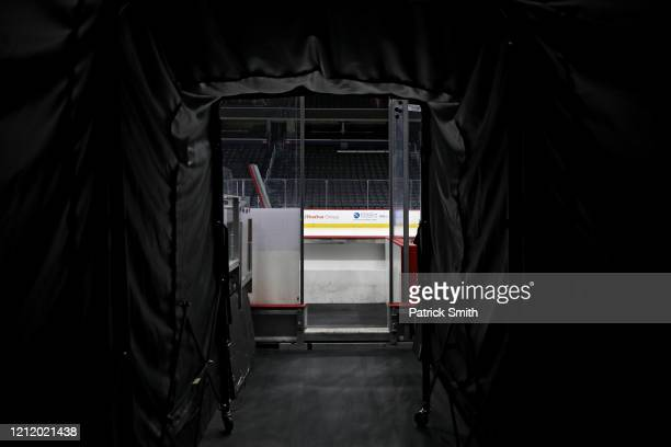 The player's tunnel to the bench is empty prior to the Detroit Red Wings playing against the Washington Capitals at Capital One Arena on March 12...