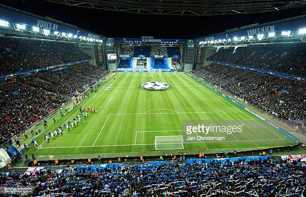 The players walk on to the pitch prior to the UEFA Champions League match between FC Copenhagen and Leicester City FC at Telia Parken Stadium on...