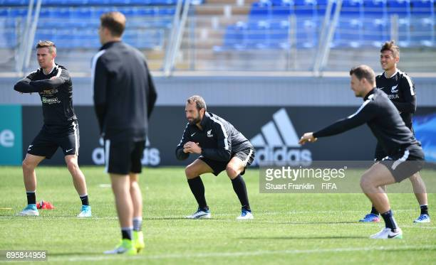 The players warm up during a training session of the New Zealand national football team on June 14 2017 in Saint Petersburg Russia