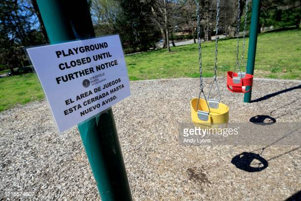 The playground at Central Park in downtown Louisville is closed due to the coronavirus on March 29, 2020 in Louisville, Kentucky. Out of the concern...