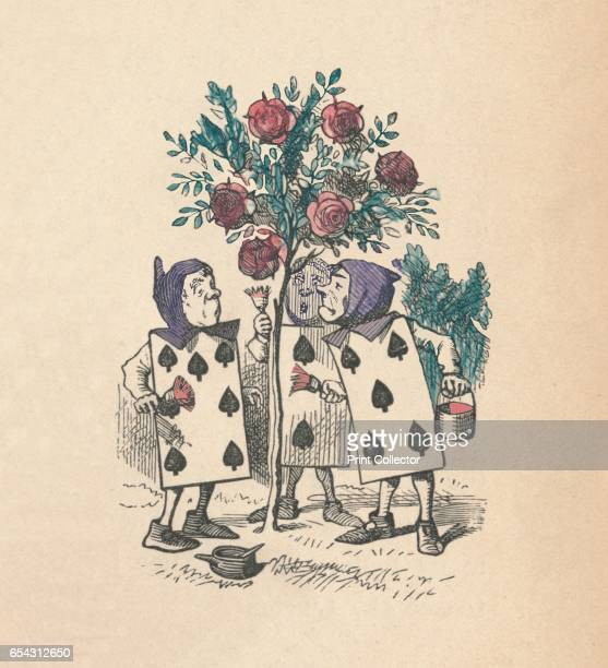 The Playing cards painting the Rose Bushes 1889 Lewis Carrolls Alice in Wonderland as illustrated by John Tenniel From Alices Adventures in...
