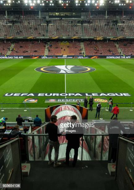 The playing field is seen prior to UEFA Europa League Round of 16 second leg match between FC Red Bull Salzburg and Borussia Dortmund at the Red Bull...