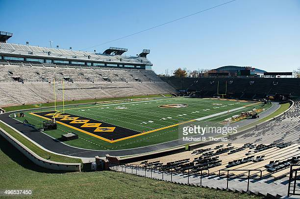 The playing field of Memorial Stadium at Faurot Field is seen prior to practice on November 10 2015 in Columbia Missouri The university looks to get...