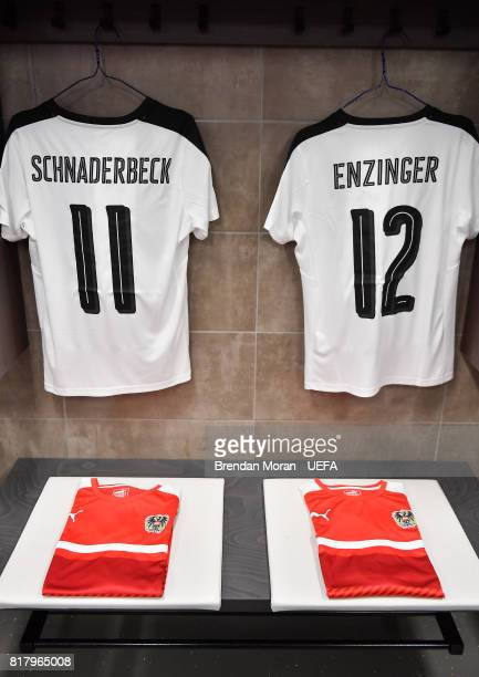 The playing kit of Viktoria Schnaderbeck left and Stefanie Enzinger in the Austria dressingroom prior to the UEFA Women's EURO 2017 Group C match...