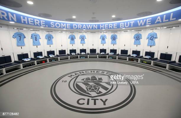 The playing shirts of Manchester City are seen in their dressing room prior to the UEFA Champions League group F match between Manchester City and...