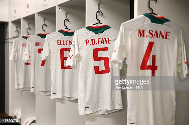 The playing shirts of the Senegal team are seen hanging up in their dressing room prior to the FIFA U20 World Cup round of 16 match between Ukraine...