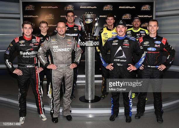 The playoffs contenders for the NASCAR Camping World Truck Series front row LR Noah Gragson Johnny Sauter Brett Moffitt Ben Rhodes and back row LR...