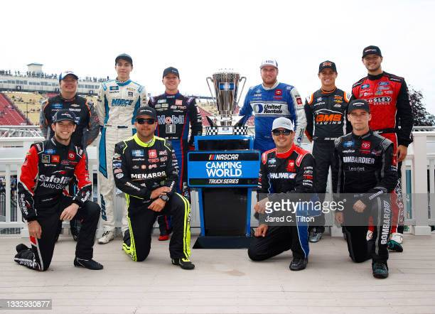 The playoffs contenders for the NASCAR Camping World Truck Series, front row L-R: Chandler Smith, driver of the Safelite AutoGlass Toyota, Matt...