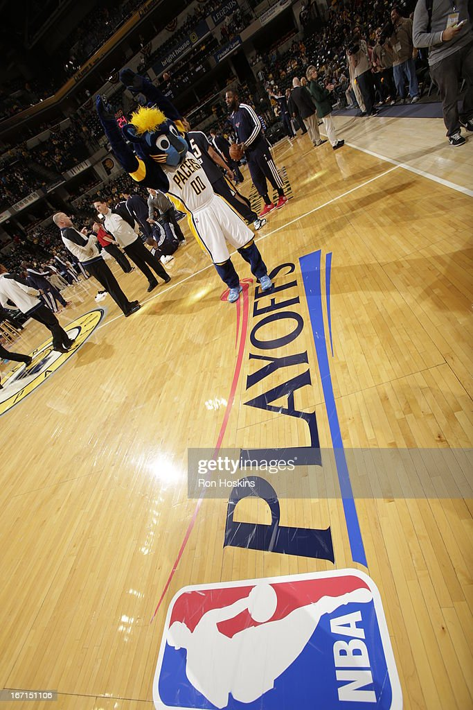 The playoffs sign is seen during the Game One of the Eastern Conference Quarterfinals between the Indiana Pacers and the Atlanta Hawks on April 21, 2013 at Bankers Life Fieldhouse in Indianapolis, Indiana.
