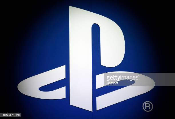 The PlayStation logo of the Sony company is displayed during the 'Paris Games Week' on October 25, 2018 in Paris, France. 'Paris Games Week' is an...