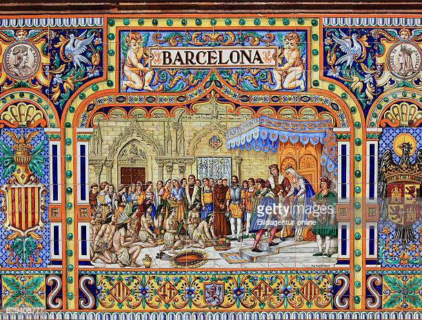The Plaza de Espana Spain Square a plaza located in the Parque de Maria Luisa Maria Luisa Park in Seville Spain Andalusia Ornaments from tiles...