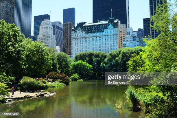 The Plaza hotel and condominium building, as seen from across the Pond in Central Park, NYC..
