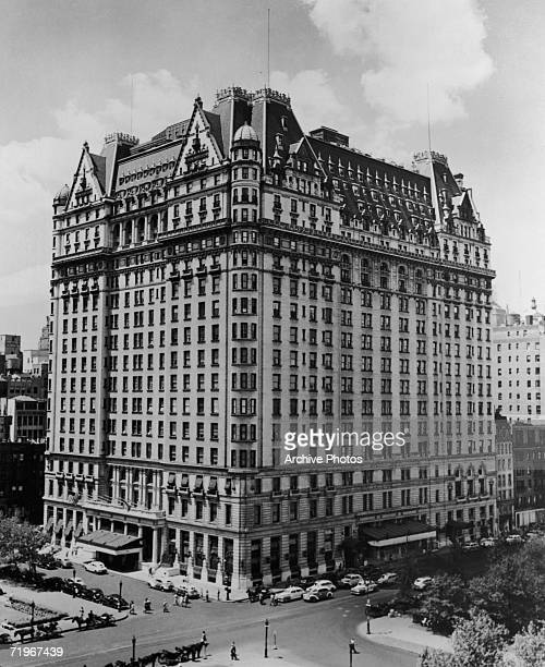 The Plaza Hotel in New York City, situated on the corner of Fifth Avenue and Central Park South, circa 1945.