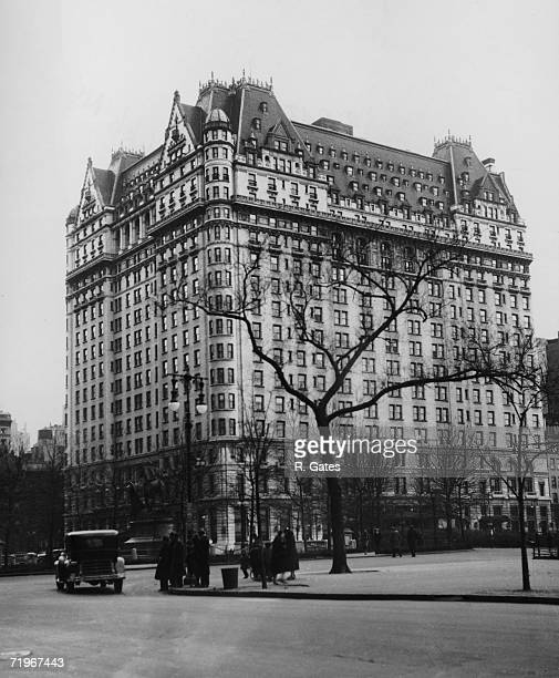 The Plaza Hotel in New York City, situated on the corner of Fifth Avenue and Central Park South, circa 1935.