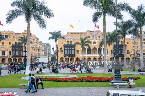 the plaza mayor de lima. in peru. - lima stock pictures, royalty-free photos & images