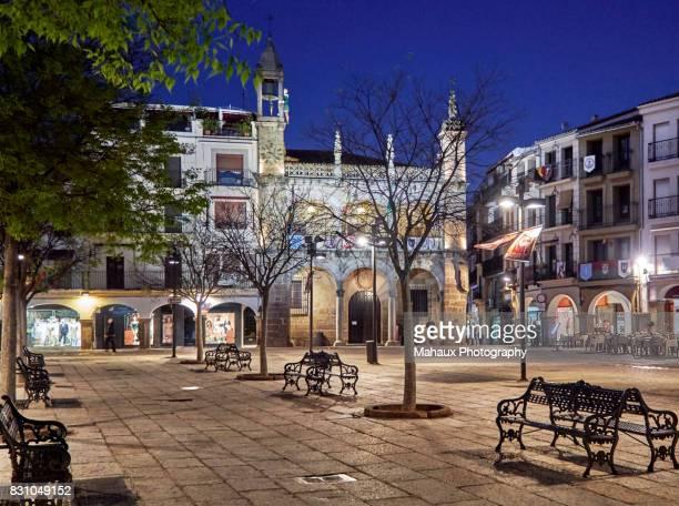The Plaza Mayor of Plasencia at night.