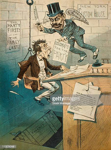 Political cartoon features a terrified civil servant suspened over a trapdoor labelled 'Poverty' as he is threatened with monetary assessments from...