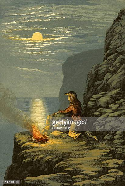 'The Pleasures Of Hope' by Thomas Campbell 1799 Illustration for the verse 'Pil'd on the steep her blazing faggots burn To hail the bark that never...