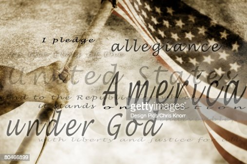The Pledge of Allegiance and an American flag : Stock Photo