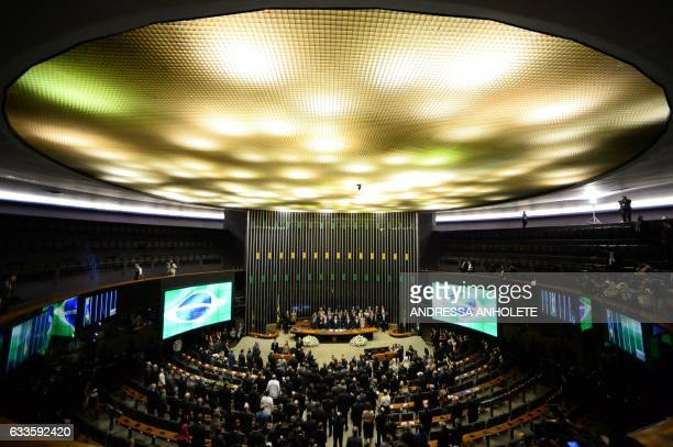The plenary of the Chamber of Deputies during the opening session of Congress after the legislative recess in Brasilia on February 2 2017 / AFP /...