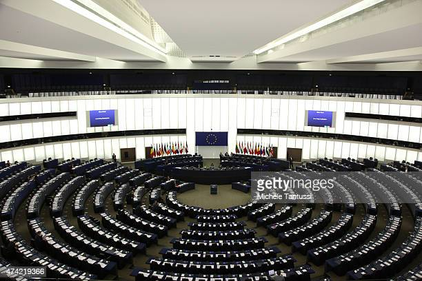 The plenary room in the European Parliaments building on May 21, 2015 in Strasbourg, France. The last plenary session of the week debates and votes...