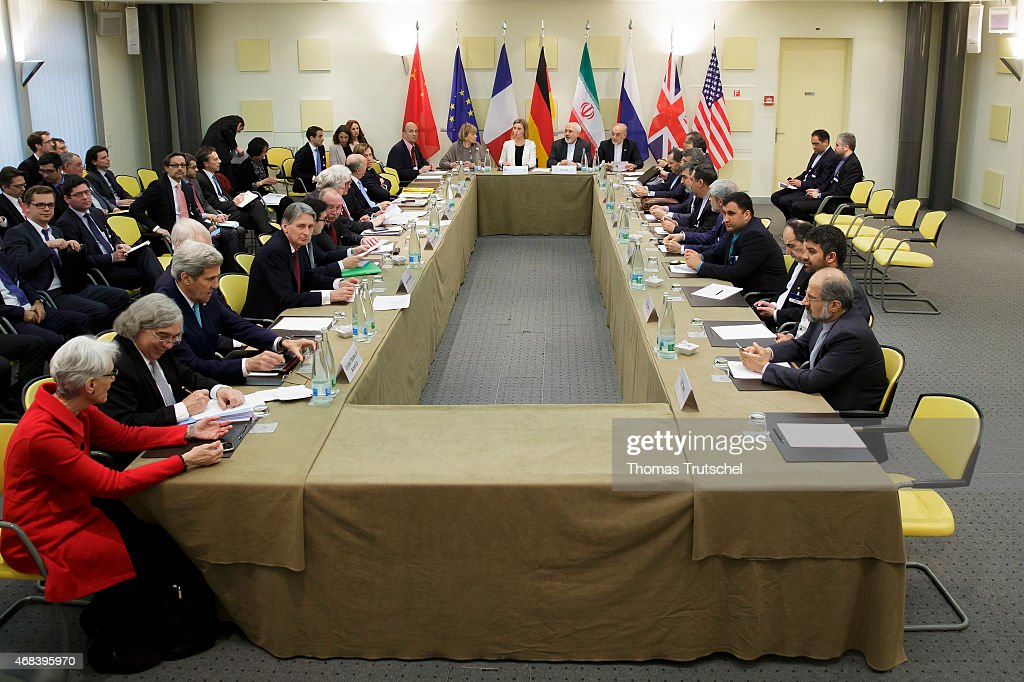 The plenary session on Iran nuclear talks E3+3 takes place at the Beau Rivage Palace Hotel on April 02, 2015 in Lausanne, Switzerland.