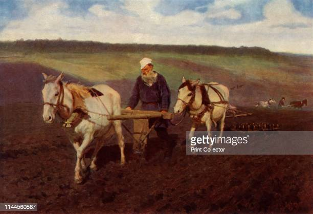 """The Ploughman ' . Portrait of Russian author Leo Tolstoy as a ploughman. Painting in the State Tretyakov Gallery, Moscow. From """"Russian Painting of..."""