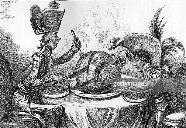 The Plum Pudding in Danger English caricature showing the colonial powers carving up the world On the left William Pitt On the right Napoleon...