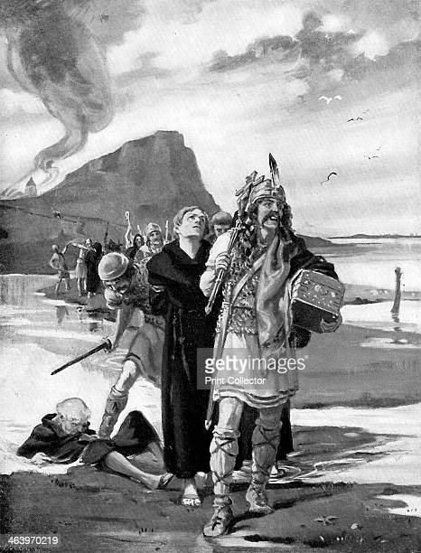The plunder of Lindisfarne Northumberland 793 AD A Viking raid on the monastery Illustration from Story of the British Nation Volume I by Walter...