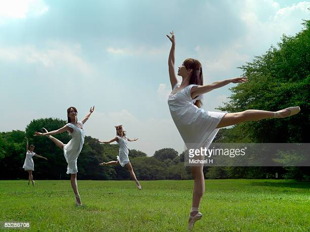 The plural same people do a ballet dance in a park