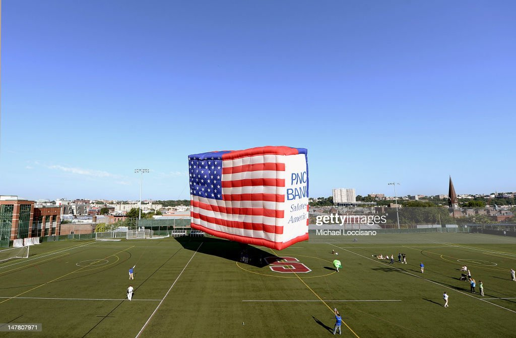 The PNC American Flag balloon is inflated in honor of ...