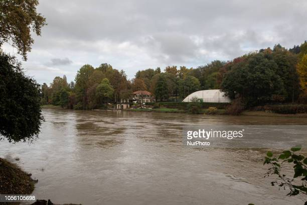 The Po after some strong rainfalls Impressions of the Fall in the capital of Piedmont Turin in Northern Italy on 1st November 2018