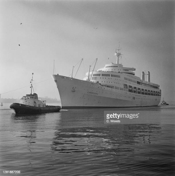 The P&O ocean liner 'SS Canberra' moored at Southampton, UK, after a baby on board contracted pneumonia and had to be taken to hospital, 28th...