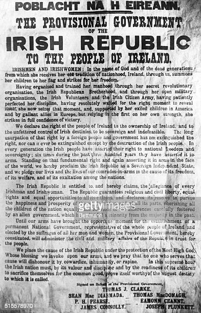 The Poblacht Na H Eireann the proclamation of the Irish Republic by the leaders of 1916 Easter Rising whose names are at the bottom