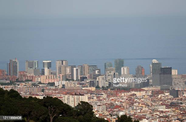 The Poblenou area Barcelona reaches historic lows in air pollution on 06th May 2020