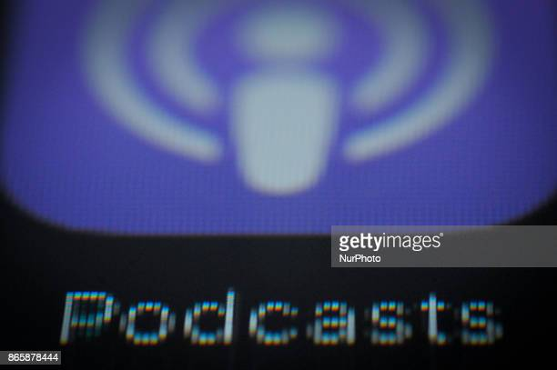 The Podcast application is seen on an Apple iPad on October 24 2017