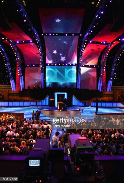 The podium and stage for the Democratic National Convention are displayed at the Pepsi Center August 22 2008 in Denver Colorado Some 1500 students...