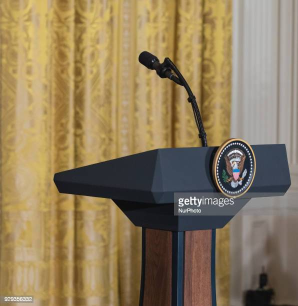 The podium before the joint press conference of US President Donald Trump and Prime Minister Stefan Löfven of Sweden in the East Room of the White...